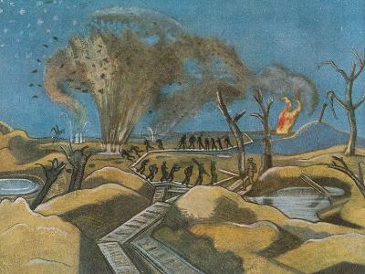 Shelling the Duckboards, from British Artists at the Front, Continuation of the Western Front, 1918-Paul Nash-Giclee Print