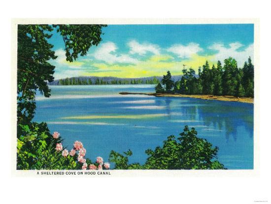 Sheltered Cove on Hood Canal - Hood Canal, WA-Lantern Press-Art Print
