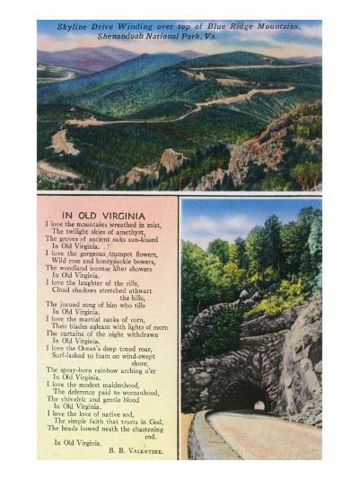 "Shenandoah Nat'l Park, Va - Aerial View of Skyline Drive, Tunnel, ""In Old Virginia"" Poem, c.1956-Lantern Press-Art Print"