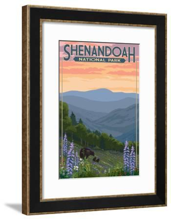 Shenandoah National Park, Virginia - Black Bear and Cubs Spring Flowers-Lantern Press-Framed Art Print