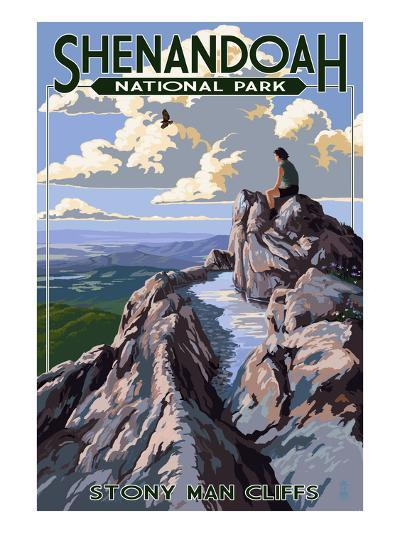 Shenandoah National Park, Virginia - Stony Man Cliffs View-Lantern Press-Art Print