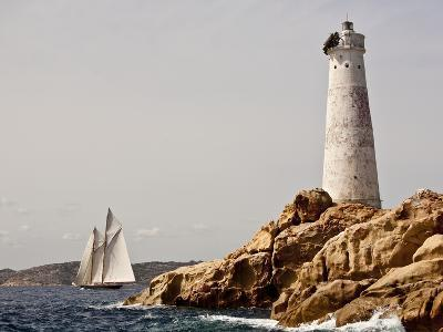Shenandoah of Sark Schooner Sails Past Sardinia's Monaci Lighthouse on Costa Smeralda-Onne van der Wal-Photographic Print