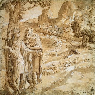 Shepherd and Piligrim in a Landscape, C1550-Pirro Ligorio-Giclee Print