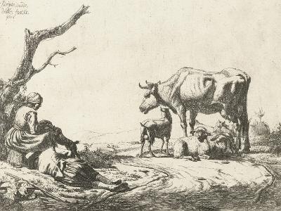 Shepherd and Shepherdess with Cattle, 1653-Adriaen van de Velde-Giclee Print