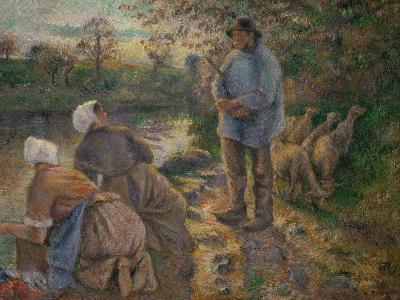 Shepherd and Washerwomen, 1881-Camille Pissarro-Giclee Print