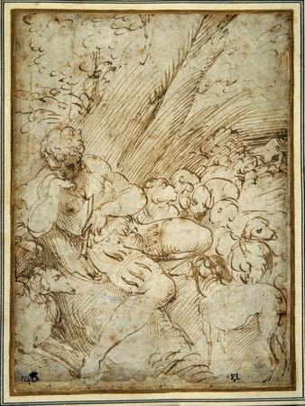 Shepherd Boy Holding a Pipe, Resting under a Tree with His Dog Among their Flock-Parmigianino-Giclee Print