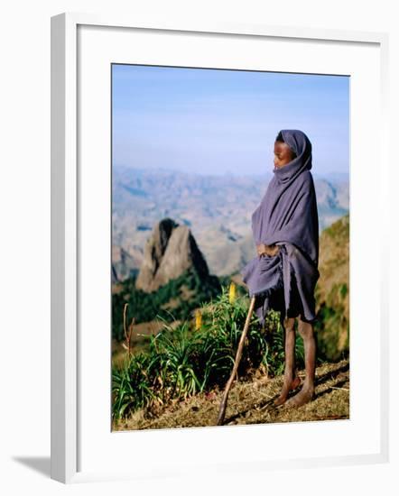 Shepherd Boy with Simien Mountains Background, Simien Mountains National Park, Ethiopia-Frances Linzee Gordon-Framed Photographic Print