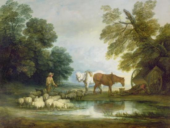 Shepherd by a Stream-Thomas Gainsborough-Giclee Print
