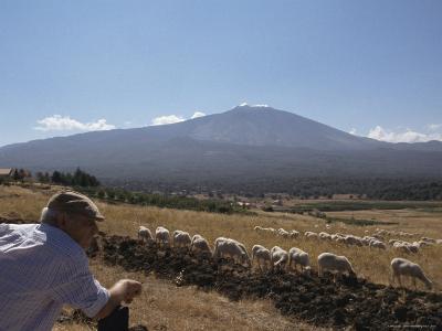 Shepherd, Mount Etna, Sicily, Italy-Oliviero Olivieri-Photographic Print