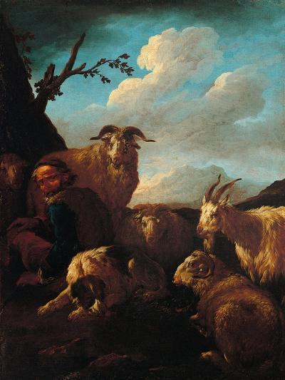 Shepherd with Animals- Rosa da Tivoli,-Art Print
