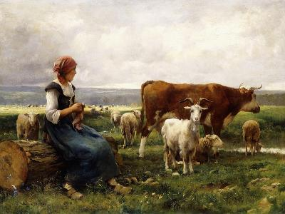 Shepherdess with Cows and Goats-Julien Dupre-Giclee Print