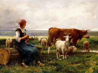 Shepherdess with Cows and Goats-Julien Dupr?-Giclee Print