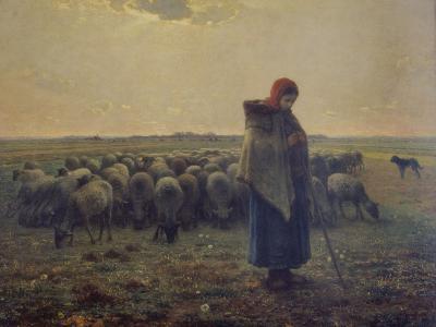 Shepherdess with Her Flock (La Grande Bergere), 1863-Jean-Fran?ois Millet-Giclee Print
