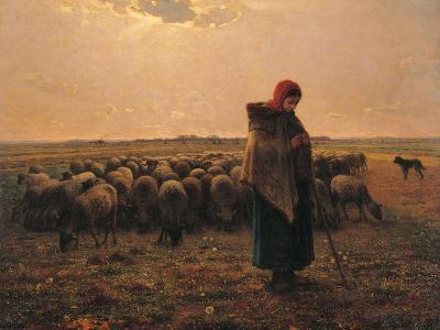 Shepherdess with Her Flock-Jean-Fran?ois Millet-Art Print