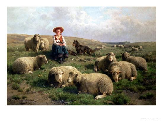 Shepherdess with Sheep in a Landscape-C. And Gerard Leemputten-Giclee Print