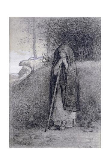 Shepherdess-Jean-Fran?ois Millet-Giclee Print