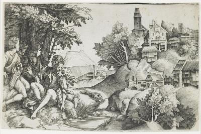 Shepherds in a Landscape, C. 1517-1518-Giulio Campagnola-Giclee Print