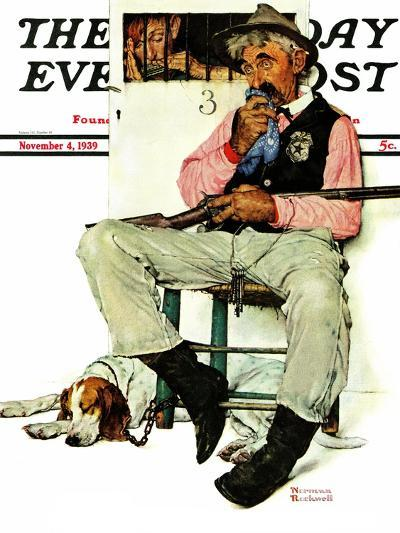 """Sheriff and Prisoner"" Saturday Evening Post Cover, November 4,1939-Norman Rockwell-Giclee Print"