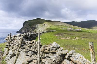Shetland Islands, Foula, Hametown Settlement. Stone Fence around the Cliffs-Martin Zwick-Photographic Print