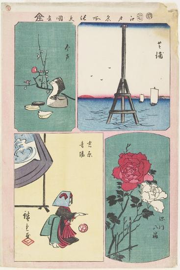Shibaura, Fukagawa Shrine, Spring in Yoshiwara, Imado, July 1857-Utagawa Hiroshige-Giclee Print