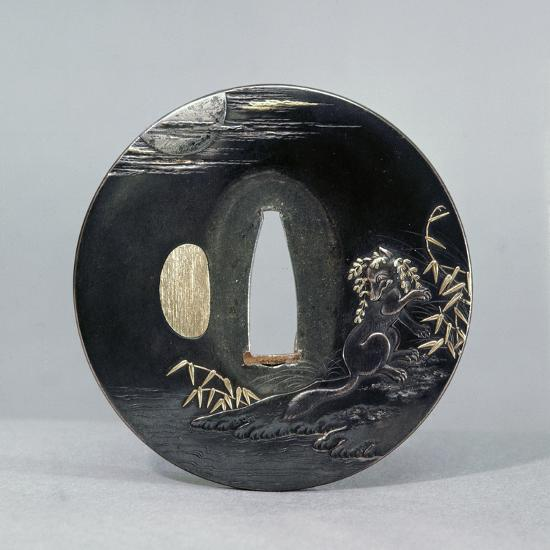 Shibuichi (copper and silver alloy) tsuba (sword guard), Japanese, 1770-Werner Forman-Photographic Print
