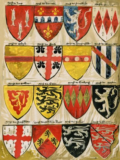 Shields of English Knights and Barons, Painted During the Reign of Edward Iii--Giclee Print