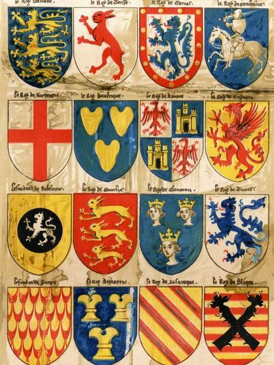 Shields with Arms of Mostly Mythical Sovereigns, Made by An English Painter, 1400s--Giclee Print