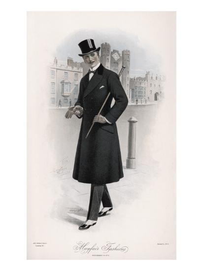 Shifty-Looking Gentleman Wears a Double-Breasted Waisted Overcoat--Giclee Print