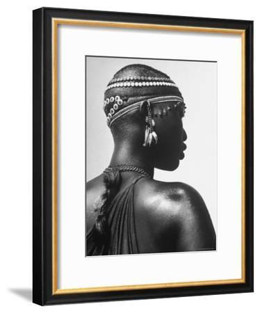 Shilluk Tribe Girl Wearing Decorative Beaded Head Gear in Sudd Region of the Upper Nile, Sudan-Eliot Elisofon-Framed Premium Photographic Print