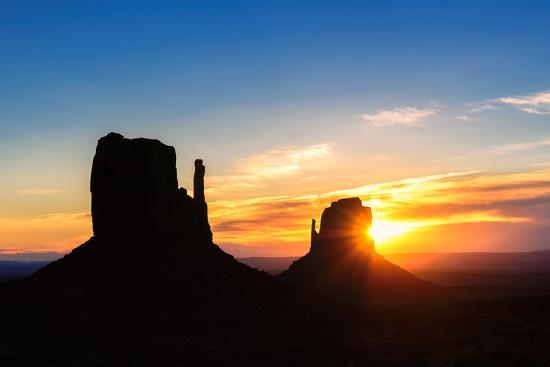 Shilouette of Monument Valley at Sunrise, Arizona-lucky-photographer-Photographic Print
