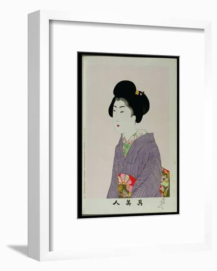 Shin Bijin (True Beauties) Depicting a Seated Woman, from a Series of 36, Modelled on an Earlier…-Toyohara Chikanobu-Framed Giclee Print