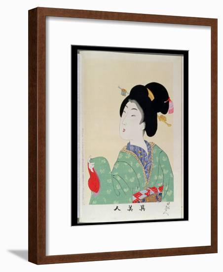 Shin Bijin (True Beauties) Depicting a Woman in a Green Floral Kimono, from a Series of 36,…-Toyohara Chikanobu-Framed Premium Giclee Print