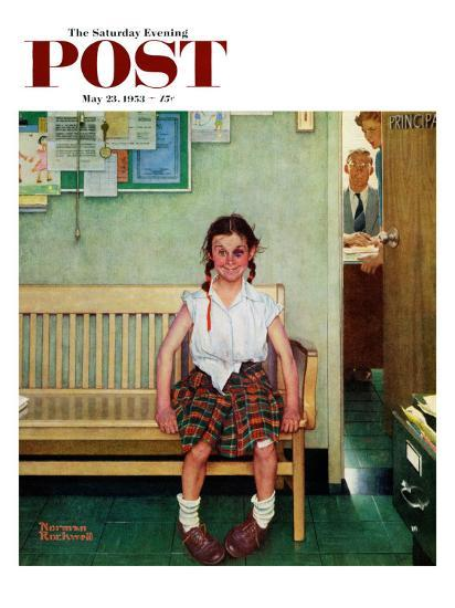 """""""Shiner"""" or """"Outside the Principal's Office"""" Saturday Evening Post Cover, May 23,1953-Norman Rockwell-Giclee Print"""