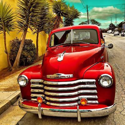Shining Red Paintwork on Edited Scene of Classic Car in America-Salvatore Elia-Photographic Print