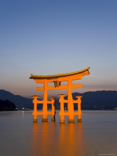 Shinto Shrine Illuminated at Dusk, Island of Honshu, Japan-Gavin Hellier-Photographic Print