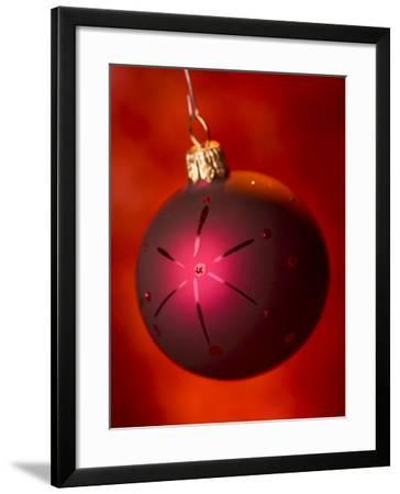 Shiny Red Christmas Ornament--Framed Photographic Print