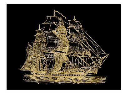 Ship 3 Golden Black-Amy Brinkman-Art Print