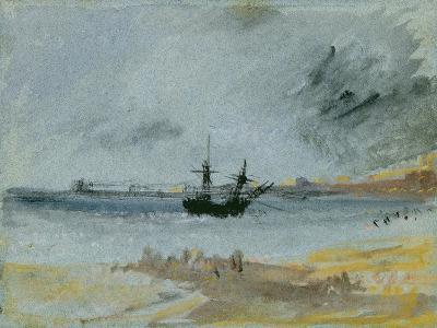 Ship Aground, Brighton, 1830 (Black Ink, W/C and Bodycolour on Paper)-J^ M^ W^ Turner-Giclee Print