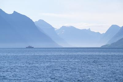 Ship and Mountains along the Austefjord, Norway-Paul Souders-Photographic Print