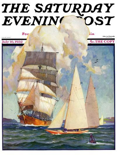 """Ship and Sailboats,"" Saturday Evening Post Cover, July 16, 1932-Gordon Grant-Giclee Print"