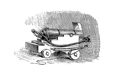 Ship Cannon on Gun Carriage, Wood Engraving, 1884--Giclee Print