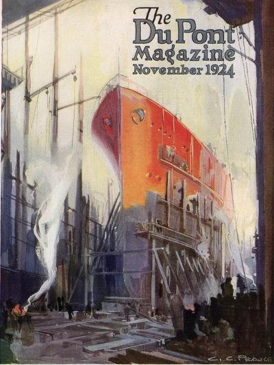 Ship Construction, Front Cover of the 'Dupont Magazine', November 1924-G. C. Pearce-Giclee Print