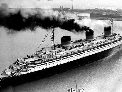 Ship Normandie Leaving Havre--Photographic Print
