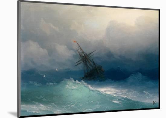 Ship on Stormy Seas-Ivan Konstantinovich Aivazovsky-Mounted Giclee Print