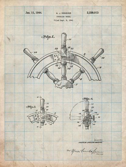 Ship Steering Wheel Patent-Cole Borders-Art Print