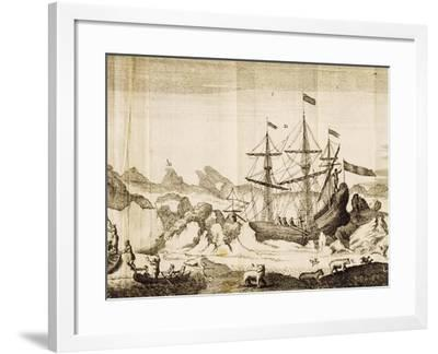 Ship Trapped in Ice from an Account of Frederick Marten's Expedition to Island of Spitsbergen--Framed Giclee Print