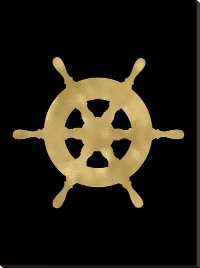 Ship Wheel Golden Black-Amy Brinkman-Stretched Canvas Print