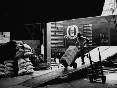 Ship with Food for East Germans Leaving Nyc--Photographic Print