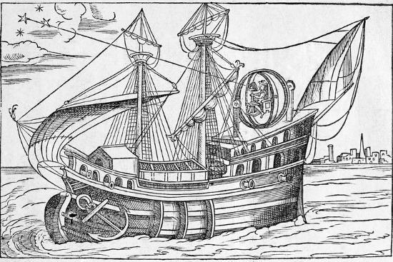 Ship with Gimballed Chair, 16th Cent.-Middle Temple Library-Photographic Print