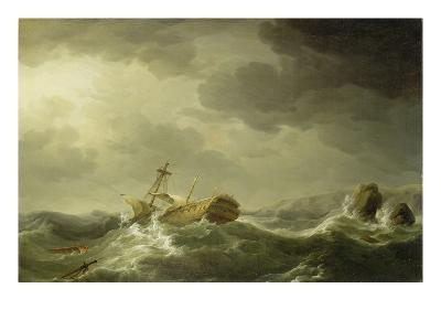 Ship Wrecked on a Rocky Coast, c.1747-50-Charles Brooking-Giclee Print
